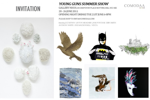 comodaa summer show invite, jane fontane, young australian artist, london show