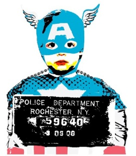 It's hard to be your hero, Screen Print artwork, jane fontane, fontaine, young australian artist, captain america suit, superhero